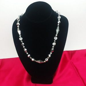 Vintage Dark Silver Crystal Beaded Clear Necklace